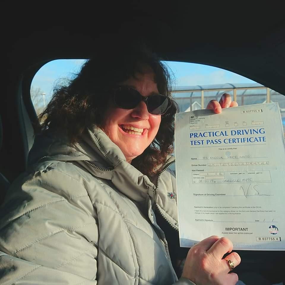Angela White passed driving test. Driving lessons in Carlisle. Driving instructor Carlisle. Driving school Carlisle