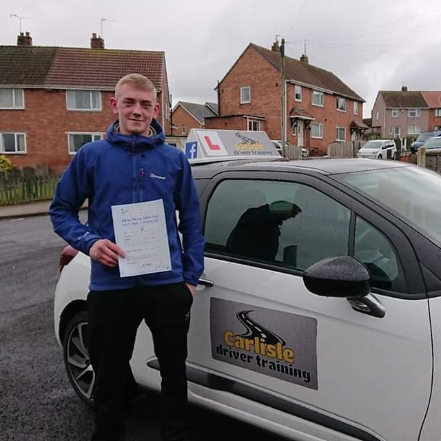 Brendan Maddison passed driving test. Driving lessons in Carlisle. Driving instructor Carlisle. Driving school Carlisle