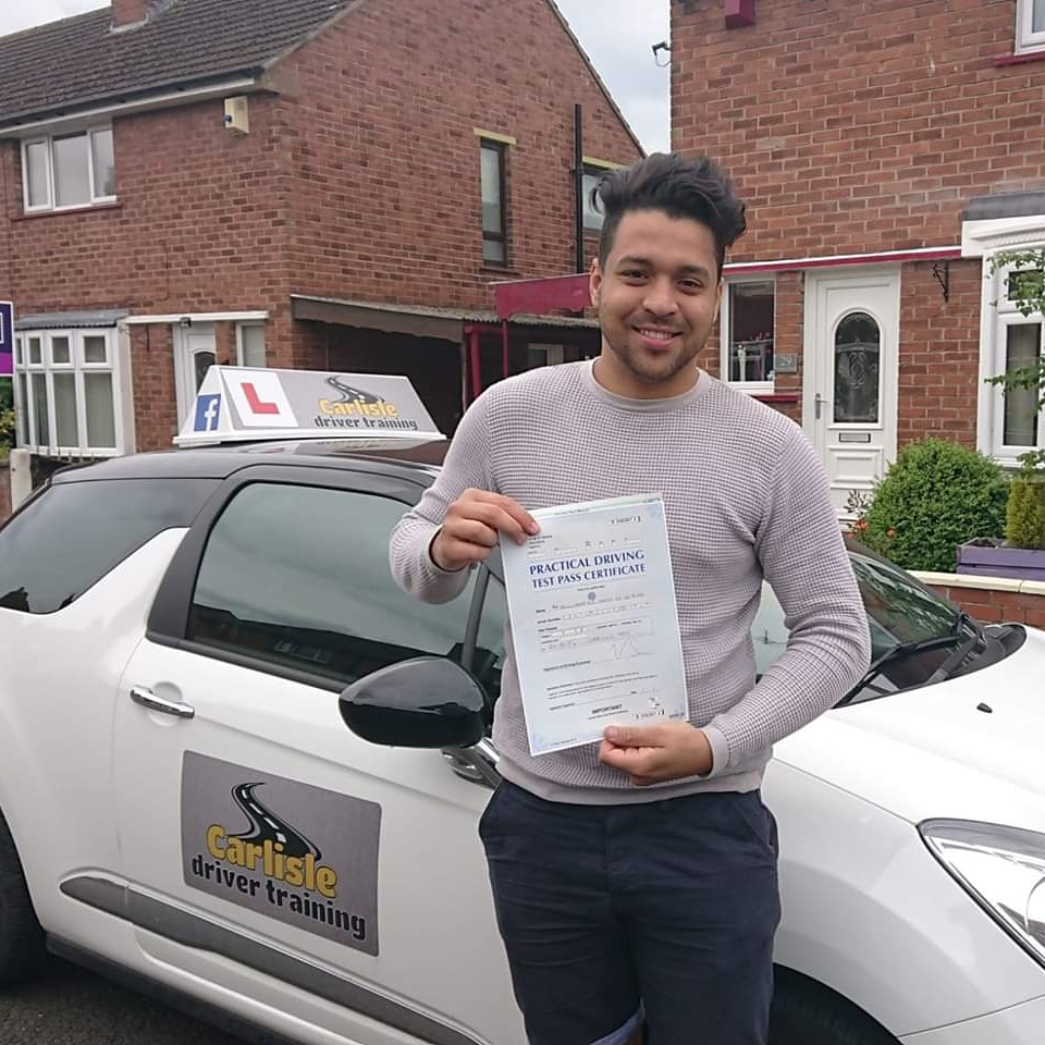 Diego Santos passed driving test. Driving lessons in Carlisle. Driving instructor Carlisle. Driving school Carlisle
