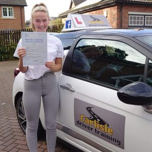 Emma Farrand passed driving test. Driving lessons in Carlisle. Driving instructor Carlisle. Driving school Carlisle