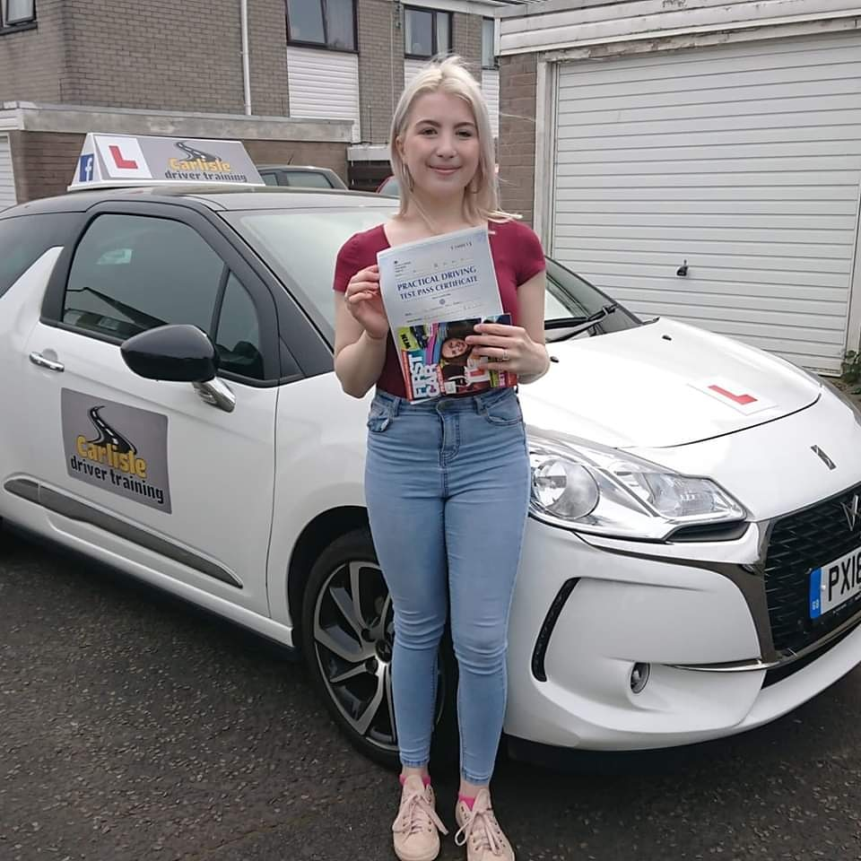 Frankie Bradley passed driving test. Driving lessons in Carlisle. Driving instructor Carlisle. Driving school Carlisle
