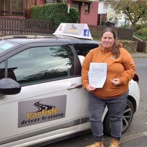 Leah Tjemsland passed driving test. Driving lessons in Carlisle. Driving instructor Carlisle. Driving school Carlisle.