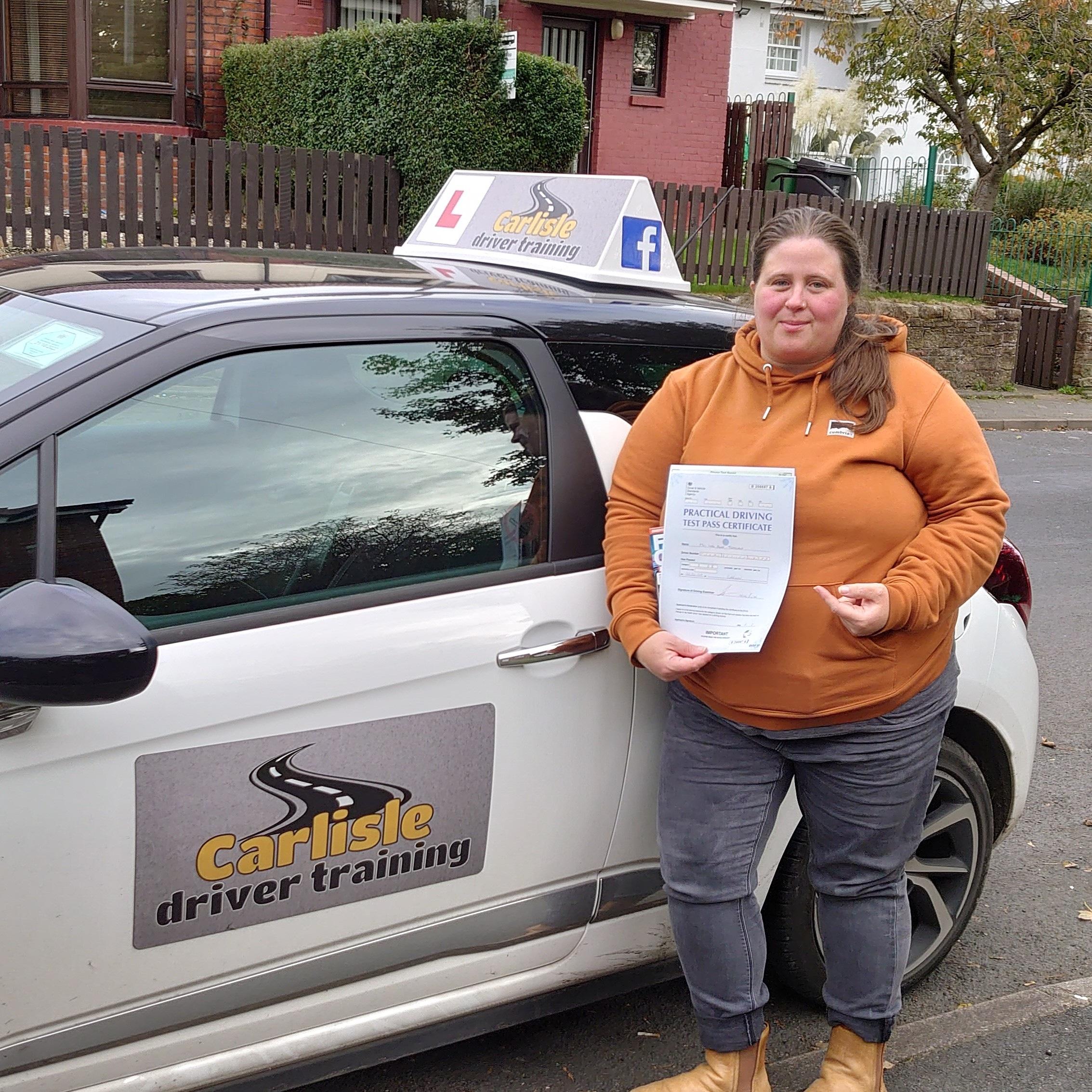 Leah Tjemsland passed driving test. Driving lessons in Carlisle. Driving instructor Carlisle. Driving school Carlisle.