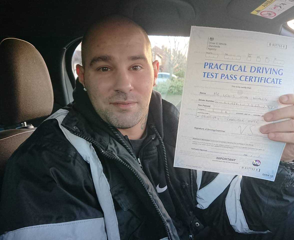 Lewis Whalen passed driving test. Driving lessons in Carlisle. Driving instructor Carlisle. Driving school Carlisle