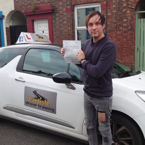 Matt Cross passed driving test. Driving lessons in Carlisle. Driving instructor Carlisle. Driving school Carlisle