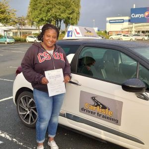 Nykia Herron passed driving test. Driving lessons in Carlisle. Driving instructor Carlisle. Driving school Carlisle