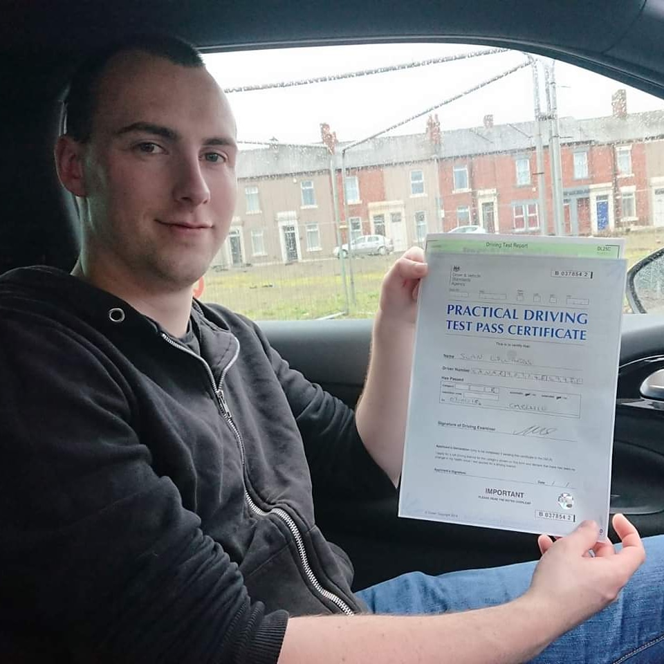 Sean Edwards passed driving test. Driving lessons in Carlisle. Driving instructor Carlisle. Driving school Carlisle
