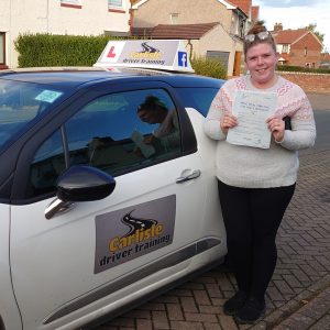 Tiffanie Little passed driving test. Driving lessons in Carlisle. Driving instructor Carlisle. Driving school Carlisle